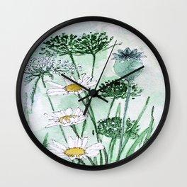 Thistles and Daisies Wall Clock