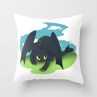 toothless Throw Pillows featuring toothless by tsurime