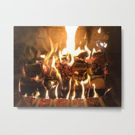 Keeping Warm by the Fire Metal Print