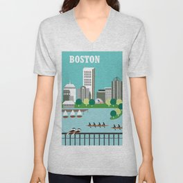 Boston, Massachusetts - Skyline Illustration by Loose Petals Unisex V-Neck