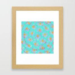 Abstract pink aqua orange watercolor brushstrokes daisies Framed Art Print