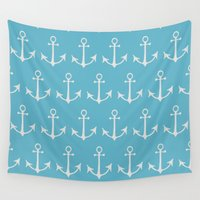 anchors Wall Tapestries featuring Nautical Anchors (Boat Anchors) - Blue Gray by Strawberry and Hearts