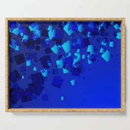 Sea explosive pattern of rhombuses and squares at the depth of the blue ocean. Serving Tray