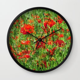 Red Floral Explosion Wall Clock