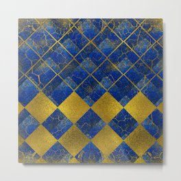Lapis Lazuli and gold pattern Metal Print