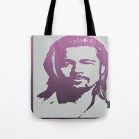 brad pitt Tote Bags featuring Brad Pitt by Dora Birgis