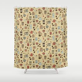 Coffee Love Patten / Cute Coffee Design / Caffeine Addict / Coffee Art / French Press / Coffee Shop Shower Curtain