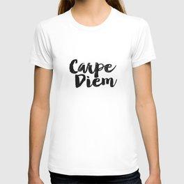 Carpe Diem black and white monochrome typography poster design bedroom wall art home room decor T-shirt