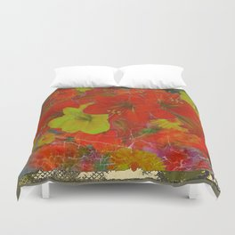 GRUNGY ANTIQUE RED FLORAL STILL LIFE BOUQUET Duvet Cover
