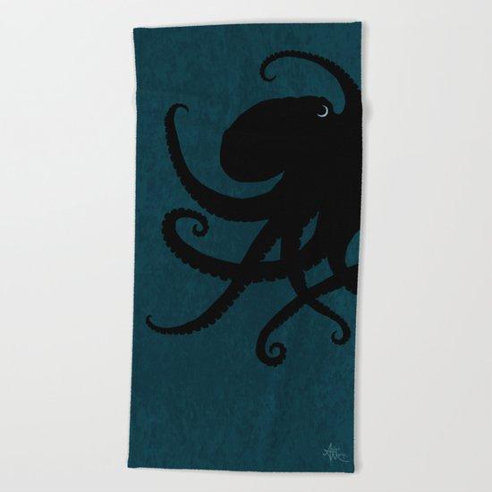 Octopus Silhouette Beach Towel