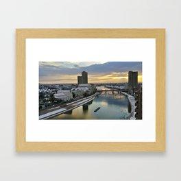 Japan city in sunrise photography Framed Art Print