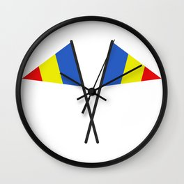 romania flag Wall Clock