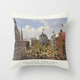 Broadway, New York by Currier & Ives (1875) Throw Pillow