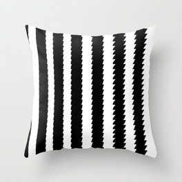 Black and White Vertical Sawtooth Pattern Throw Pillow