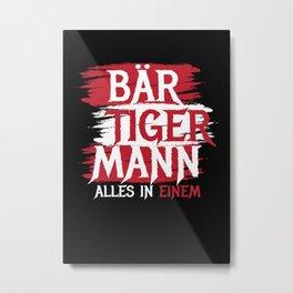 Br Tiger Mann Bearded Man Metal Print