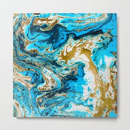Abstract blue marbled paper Metal Print