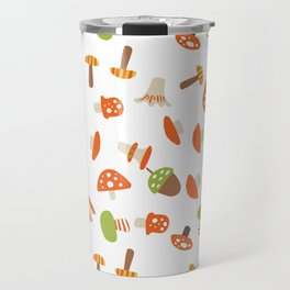 Artistic hand painted orange green autumn mushroom pattern Travel Mug