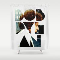 dylan Shower Curtains featuring Bob Dylan Font Colour by Fligo