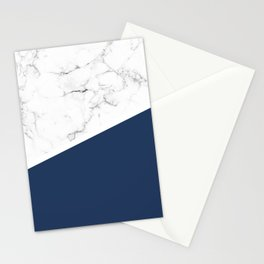 White Marble Navy Peony Stationery Cards