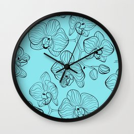 Retro . Orchid flowers on a heavenly blue background . Wall Clock