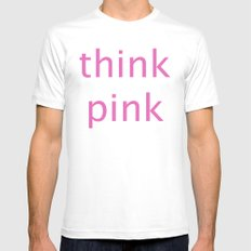 think pink MEDIUM Mens Fitted Tee White