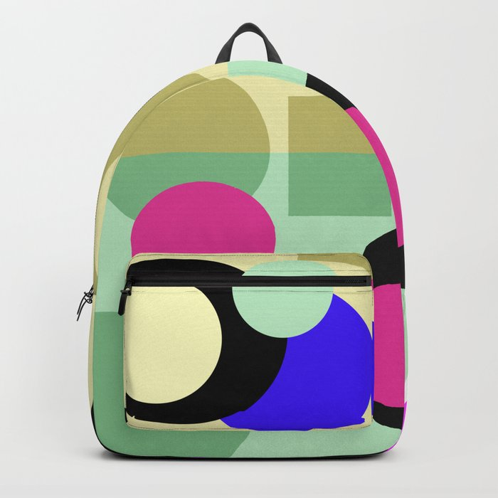Colorful geometric pattern with polka dots . Backpack