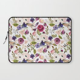 Violet pink yellow green watercolor modern floral pattern Laptop Sleeve