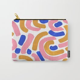 Colorful Minimalist Mid Century Modern Shapes Pink Ultramarine Blue Yellow Ochre Round Maze Pastel Carry-All Pouch