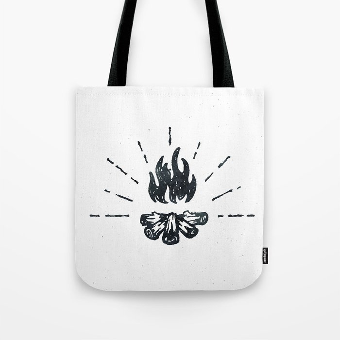 Campfire Black and White Flames Vintage Tote Bag