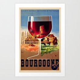 1930 French Bourgogne Wine Societe Nationale Advertisement Poster Art Print