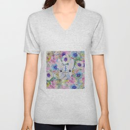 Abstract French bulldog floral watercolor paint Unisex V-Neck