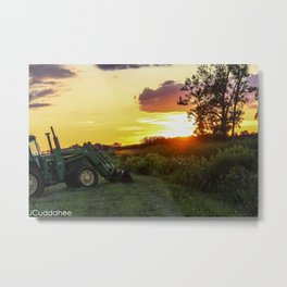 Tractor Sunset at Iroquois Wetlands  Metal Print