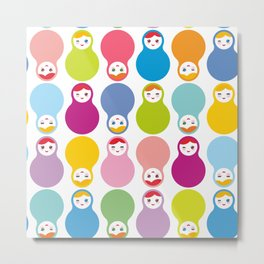 dolls matryoshka on white background Metal Print