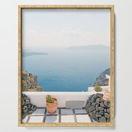 View on Santorini island Serving Tray