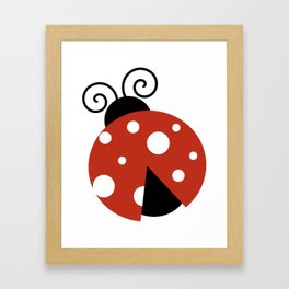 Ladybug, Ladybird, Lady Beetle - Red Black White Framed Art Print