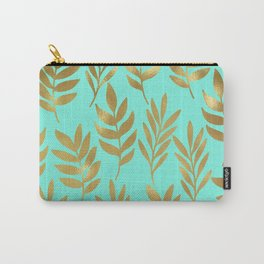 Mint green and gold foil fern Carry-All Pouch