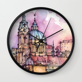 Prague ink & watercolor illustration Wall Clock