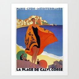 Vintage poster - La Plage de Calvi, La Corse, France Art Print