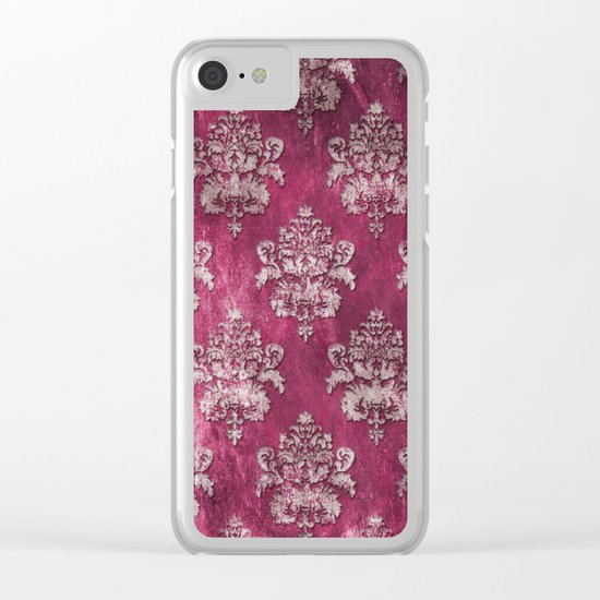 Old shabby vintage damask pink purple pattern Clear iPhone Case