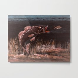 Trout Attack In Brown Metal Print