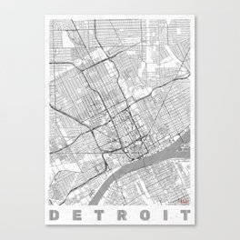 Detroit Map Line Canvas Print