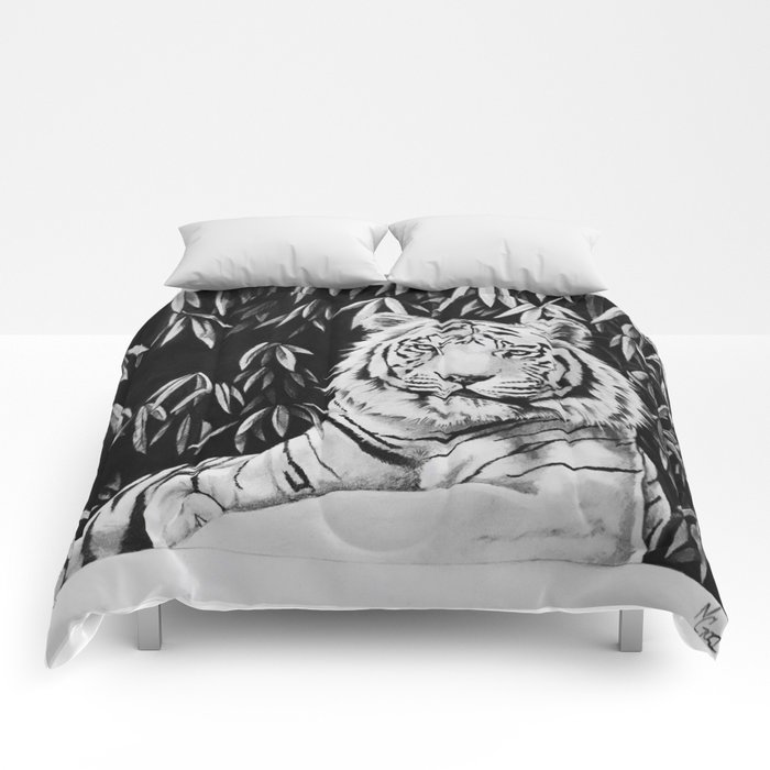 Endangered White Tiger Comforters
