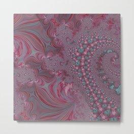Raspberry Swirl - Pink Fractal - Abstract Art by Fluid Nature Metal Print
