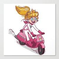 princess peach Canvas Prints featuring Princess Peach  by Andrea Alcaraz