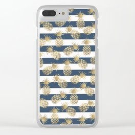 Modern nautical navy blue stripes faux gold pineapple Clear iPhone Case