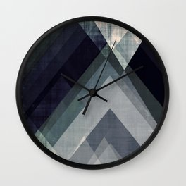 mountain art, geometric art, contemporary art print, modern art print, colorful wall art, midcentury Wall Clock