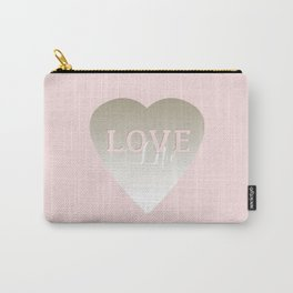 Love Life inspirational pink silver and white big heart feminine typography script design Carry-All Pouch