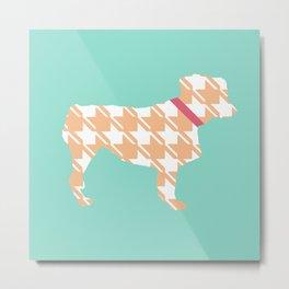 Australian Shepherd with Mint/Orange Houndstooth Metal Print
