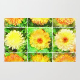 Watercolour Collage of Yellow And Orange Marigolds Rug