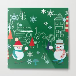 Winter fun green Metal Print